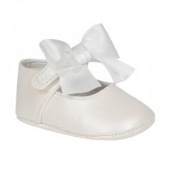 Pantofi fetiţe, piele naturală cu fundita